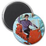 Retro Vintage Kitsch 60s Snowmobile Snowmachine Ad 6 Cm Round Magnet