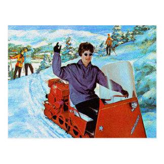 Retro Vintage Kitsch 60s Snowmobile Snowmachine Ad Postcard