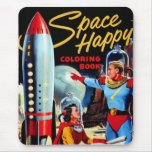 Retro Vintage Kitsch 60s Space Happy Colouring Mouse Pad