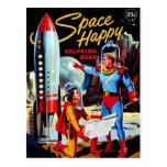 Retro Vintage Kitsch 60s Space Happy Colouring Postcard