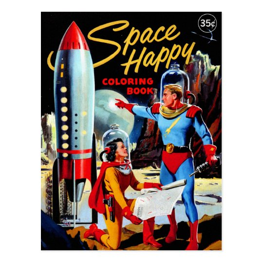 Retro Vintage Kitsch 60s Space Happy Colouring Postcard