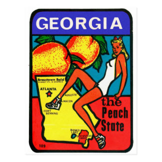 Retro Vintage Kitsch 60s Window Decal Georgia Postcard