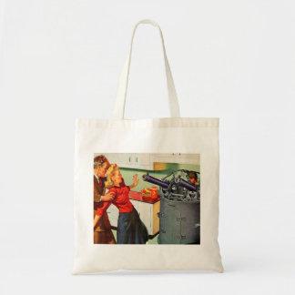 Retro Vintage Kitsch Ad Kitchen Battle Budget Tote Bag