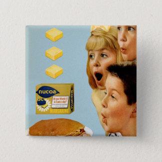 Retro Vintage Kitsch Ad Nucoa Margarine 3 Pats 15 Cm Square Badge