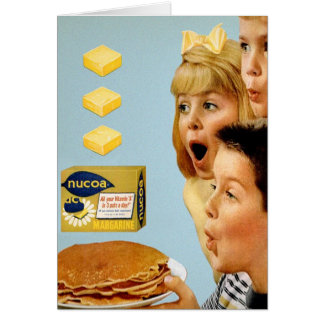 Retro Vintage Kitsch Ad Nucoa Margarine 3 Pats Greeting Card