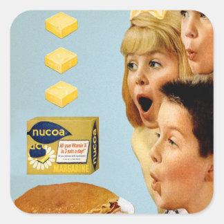 Retro Vintage Kitsch Ad Nucoa Margarine 3 Pats Square Sticker