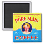 Retro Vintage Kitsch Ad Pure Made Coffee Can Fridge Magnet