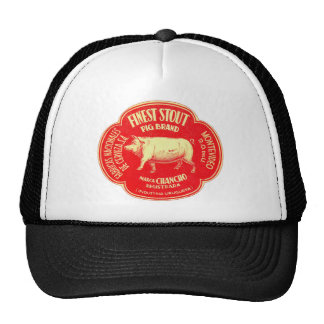 Retro Vintage Kitsch Advertising Finest Pig Stout Mesh Hats