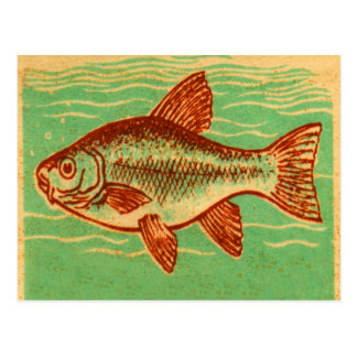 Retro Vintage Kitsch Advertising Fish Illustration Postcard