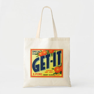 Retro Vintage Kitsch Advertising Fruit Art Get It Budget Tote Bag