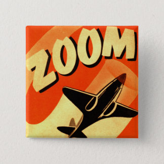Retro Vintage Kitsch Airplane Planes Zoom 15 Cm Square Badge