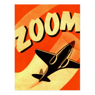 Retro Vintage Kitsch Airplane Planes Zoom Postcard