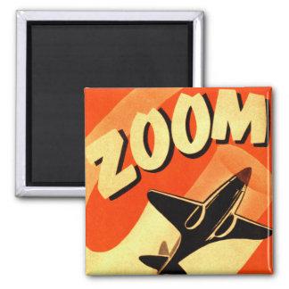 Retro Vintage Kitsch Airplane Planes Zoom Square Magnet