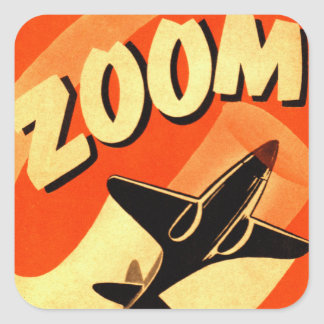 Retro Vintage Kitsch Airplane Planes Zoom Square Sticker