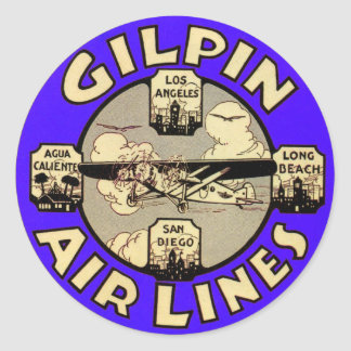 Retro Vintage Kitsch Airplanes Gilpin Airlines Round Sticker