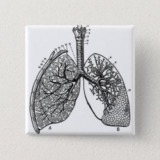 Retro Vintage Kitsch Anatomy Medical Lungs 15 Cm Square Badge