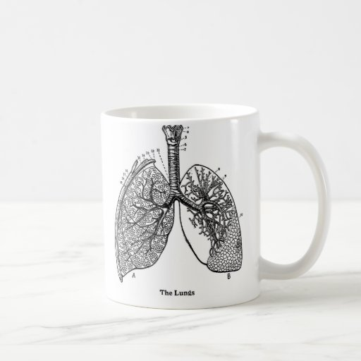 Retro Vintage Kitsch Anatomy Medical Lungs Coffee Mugs