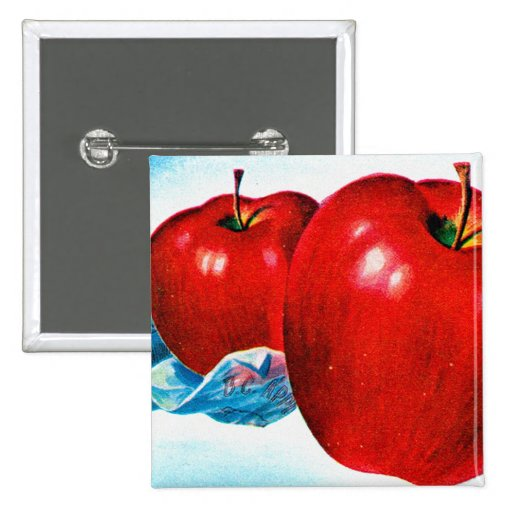 Retro Vintage Kitsch Apple Art B.C. Apples 15 Cm Square Badge