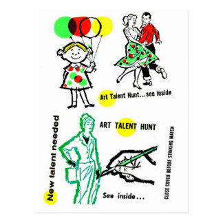 Retro Vintage Kitsch Art Talent Hunt School Ad Postcard