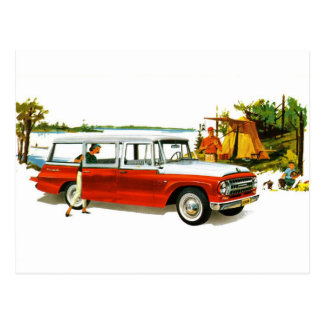 Retro Vintage Kitsch Auto 60's Station Wagon Trip Postcard