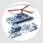 Retro Vintage Kitsch Automobile Traffic Jam Buster Round Stickers