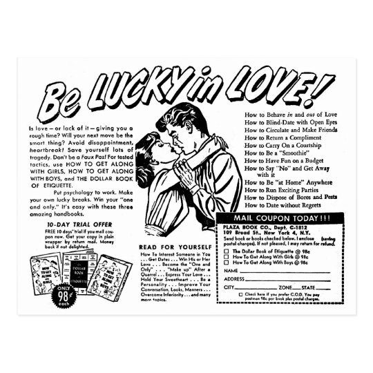 Retro Vintage Kitsch Be Lucky In Love Romance