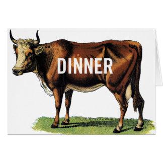 Retro Vintage Kitsch Beef Cow Dinner Ad Art Card