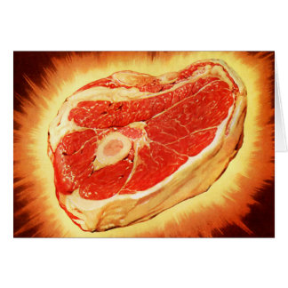 Retro Vintage Kitsch Beef Steak Dinner Card