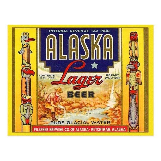 Retro Vintage Kitsch Beer Alaska Lager Label Postcard