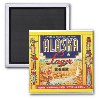 Retro Vintage Kitsch Beer Alaska Lager Label Square Magnet