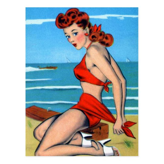 Retro Vintage Kitsch Bikini Pin Up Postcard Girl