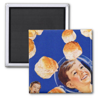 Retro Vintage Kitsch Biscuit Space Boy Ad Square Magnet