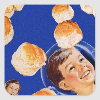 Retro Vintage Kitsch Biscuit Space Boy Ad Square Sticker
