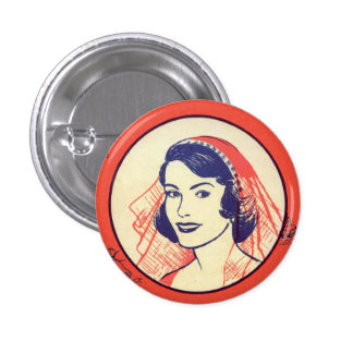 Retro Vintage Kitsch Bridal Shower Party Games 3 Cm Round Badge
