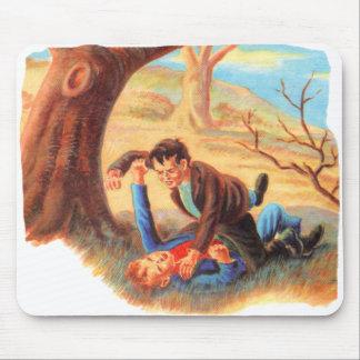 Retro Vintage Kitsch Bully Kids Fist Fighting Mousepad
