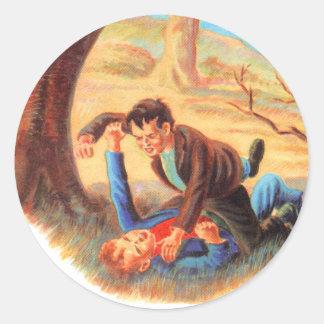 Retro Vintage Kitsch Bully Kids Fist Fighting Round Sticker