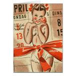 Retro Vintage Kitsch Calendar German 40s Pin Up Greeting Card