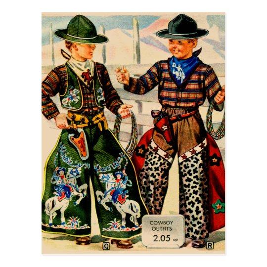 Retro Vintage Kitsch Catalogue Boys Cowboy Outfits Postcard