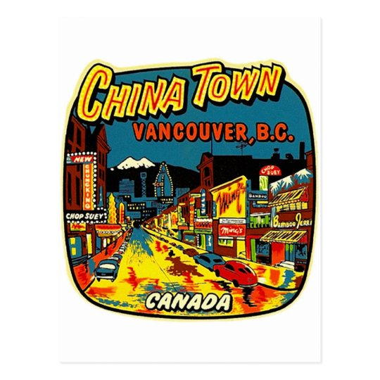 Retro Vintage Kitsch China Town Vancouver BC Postcard