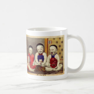 Retro Vintage Kitsch Chinese Babies with Cats Coffee Mug