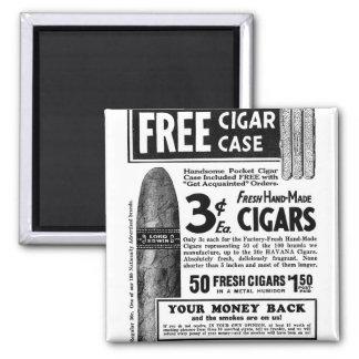 Retro Vintage Kitsch Cigar Ad Cigars 3¢, Free Case Refrigerator Magnet