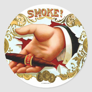 Retro Vintage Kitsch Cigar Box Art 'Smoke?' Classic Round Sticker