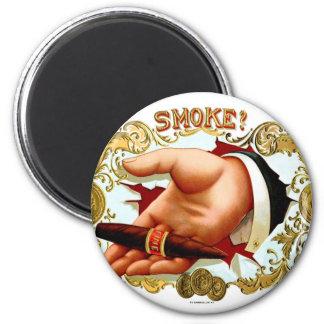 Retro Vintage Kitsch Cigar Box Art 'Smoke?' Magnets