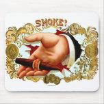 Retro Vintage Kitsch Cigar Box Art 'Smoke?' Mousepad