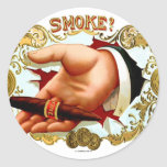 Retro Vintage Kitsch Cigar Box Art 'Smoke?' Round Sticker