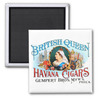 Retro Vintage Kitsch Cigars British Queen Havana Square Magnet