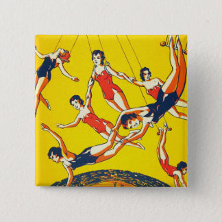 Retro Vintage Kitsch Circus Trapeze Artists 15 Cm Square Badge