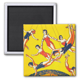 Retro Vintage Kitsch Circus Trapeze Artists Square Magnet