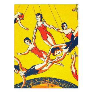 Retro Vintage Kitsch Circus Trapeze Artists Postcard