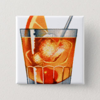Retro Vintage Kitsch Cocktail Drink Old Fashioned 15 Cm Square Badge